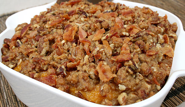Bacon Pecan Crusted Sweet Potato Casserole Sugardale