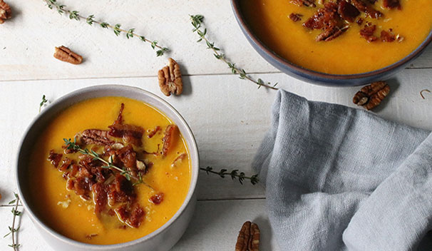 Carrot Apple Soup with Bacon