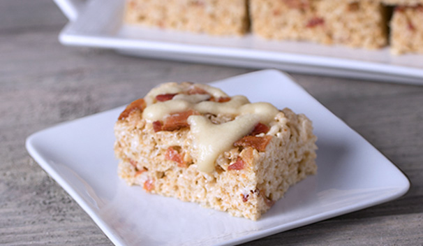 Maple Bacon Rice Krispie Treats with Maple Glaze