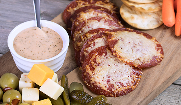 Salami Crisp Chips with Dipping Sauce