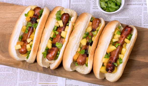 Peach Salsa Hot Dogs