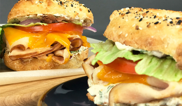 Turkey Bagel Sandwiches with Bacon and Herb Cream Cheese