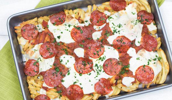Pepperoni Pizza Waffle Fries